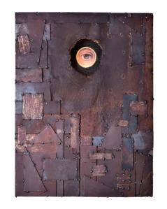 Occhio - Opera in materiale ricicliato  dell'artista Emanuele Cazzaniga