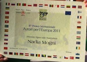 """Premio speciale della  Giuria nel concorso """"Autori per l'Europa"""" 2011 per il libro """"Blog di una donna senza segreti"""""""