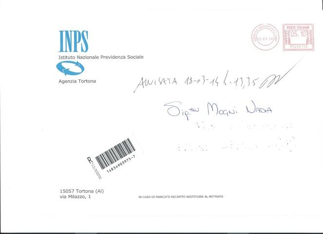 Notare l'indirizzio dell'agenzia mandataria e il timbro postale di provenienza